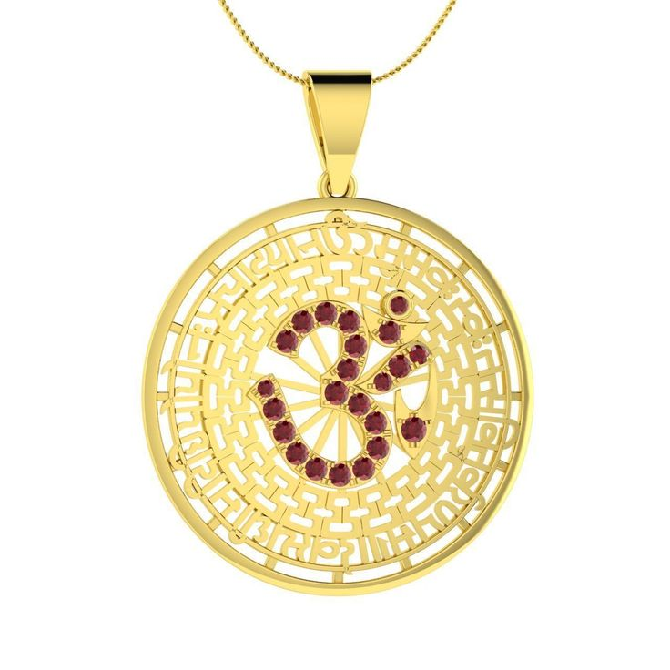 Gayatri Mantra Pendant Natural Ruby Necklace in 18K Yellow Gold - 0.66 cts - Genuine Gemstone