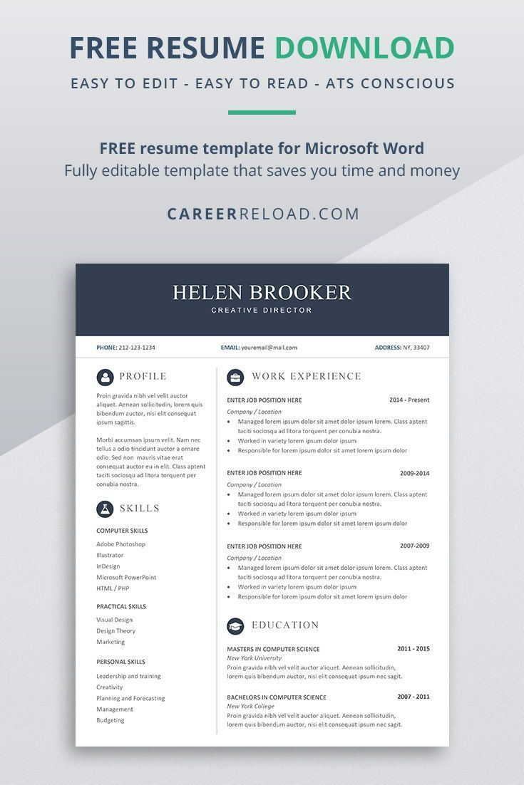 Free Cv Template For Word Free Download Career Reload Microsoft Word Resume Template Cv Template Free Free Resume Template Download - ms word resume template 2007