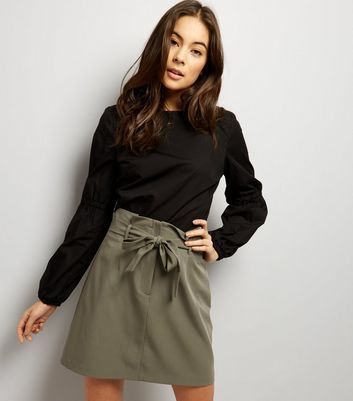 Khaki Tie Waist Mini Skirt 19.99