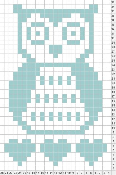 Owl knit chart- used for cross stitch...cute for cards or bookmarks