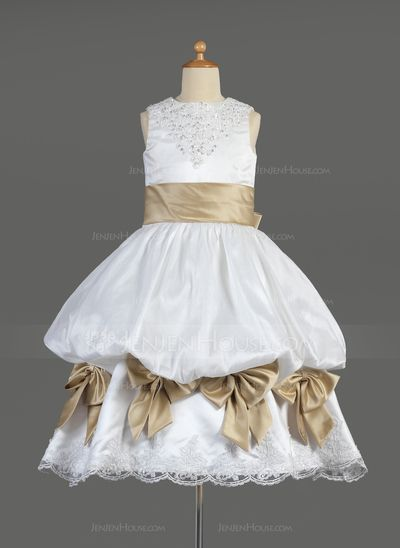 Flower Girl Dresses - $126.69 - Empire Scoop Neck Tea-Length Satin Flower Girl Dress With Ruffle Lace Sash Beading Bow(s) (010014610) http://jenjenhouse.com/Empire-Scoop-Neck-Tea-Length-Satin-Flower-Girl-Dress-With-Ruffle-Lace-Sash-Beading-Bow-S-010014610-g14610?pos=related_products_9
