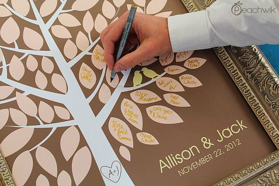 Wedding Guest Book Alternative - The Wishwik Tree - A Peachwik Interactive Art Print - 100 guest sign in