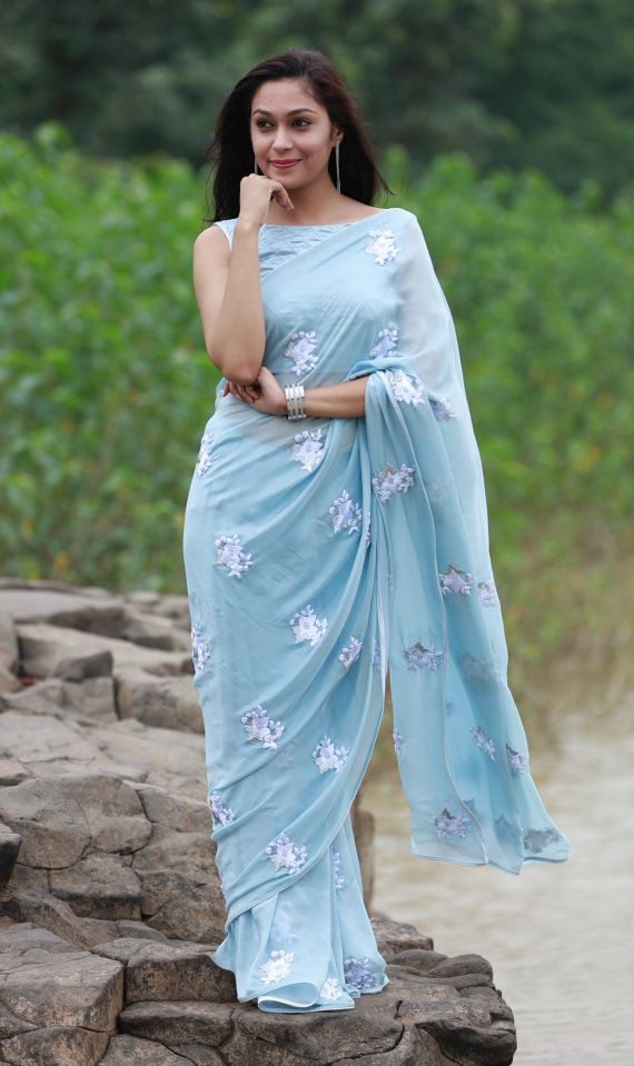 Powder Blue White Floral Pure Silk Chiffon Saree by EASTANDGRACE