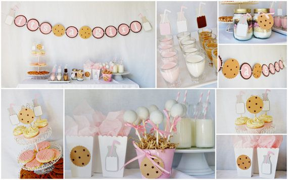 Cookies & Milk Party Decorations from http://pinwheellane.etsy.comBaby Parties, Kids Parties, Cookies Parties, Baby Shower Theme, Cookies Baby, Parties Ideas, Milk Parties, Cookies Milk, Milk Baby