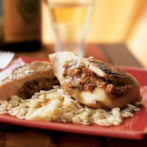 The rich flavors of chicken and goat cheese join forces in this impressive 5-star, low-calorie main dish. Serve with orzo or rice to soak up the shallot-thyme sauce, but keep portions in check to keep this a low-calorie meal. View Recipe: Chicken Breasts Stuffed with Goat Cheese and Sun-Dried Tomatoes