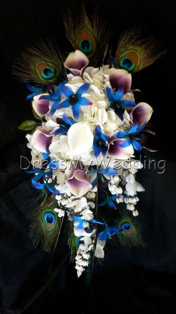 Cascading Purple Blue Dendrobium Orchid Bouquet Peacock