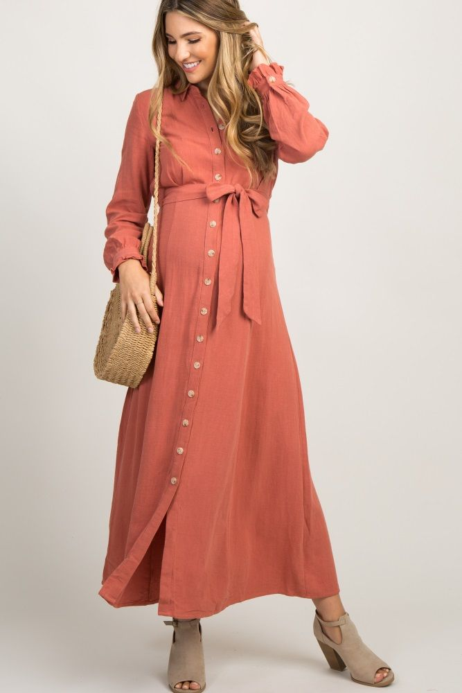 de186d7de1dd5 Rust Linen Button Up Maxi Dress | maternity style in 2019 ...