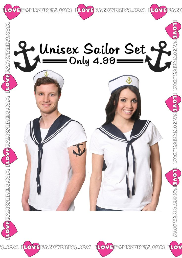 Ahoy! This Unisex Sailor Fancy Dress Set is perfect for a Nautical Themed Party! The embroidered Gold Anchor on the hat will definitely catch the eye of the other party goers!