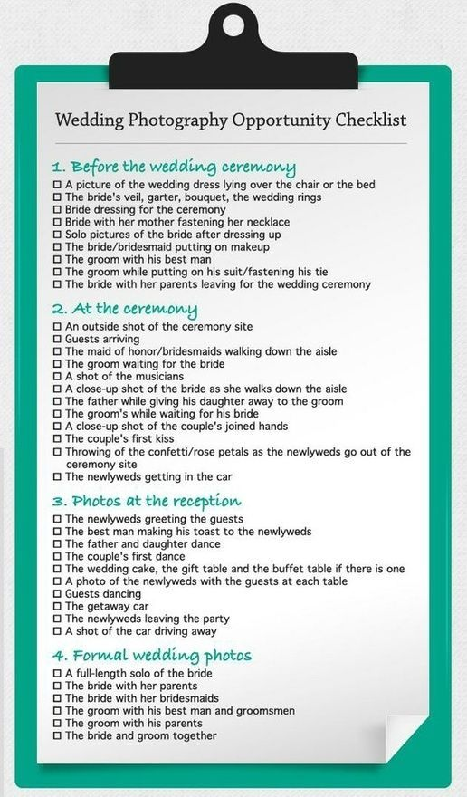 Wedding Photograpy Opportunity Checklist wedding-ideas. Maybe not all of them, a good starting point though