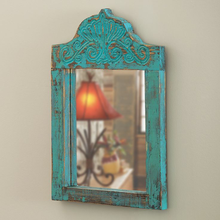 Turquoise Carved Wood Mirror
