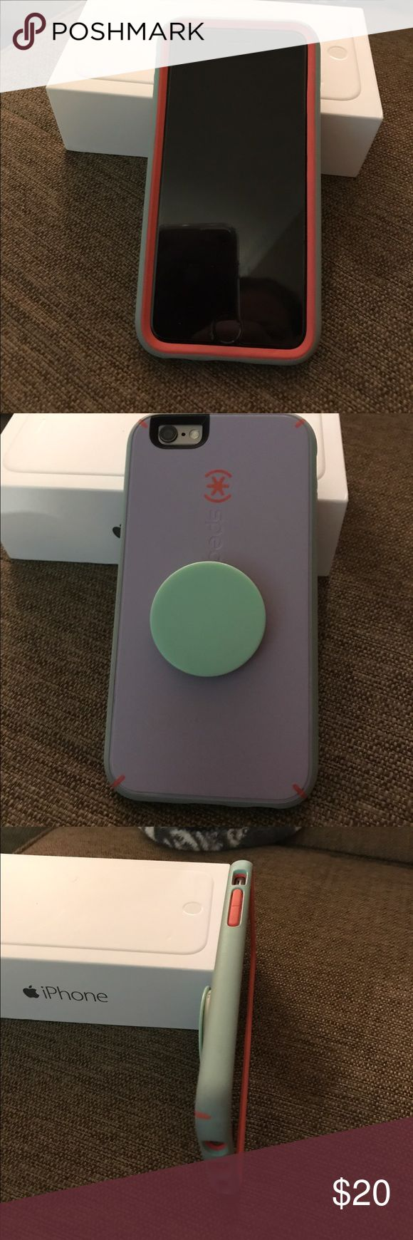 Speck IPhone 6 Case with Pop Socket Love my Speck phone case with pop socket; I recently upgraded to an iPhone 7 and can't use 😔; but this is a wonderful case for someone else; the pop socket is GREAT and helpful when texting, emailing, gaming...generally when you are using the phone a lot; it flattens when you put it in you pocket or purse; Case retails for $40 and Pop socket for $10; what a steal! 🙂 Speck Accessories Phone Cases