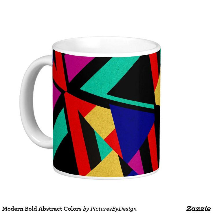 Fun Coffee Mug, In A Modern Pattern Of Bold Abstract Colors. Bright Vivid  Shades