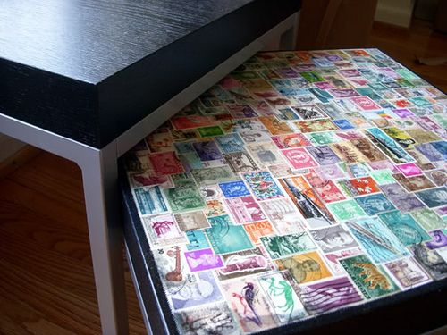 DIY Postage Stamp Side Table: Make an interesting conversation piece with your old stamp collection :) All you need is an cheap side table a...