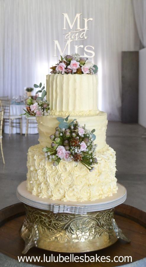 Buttercream wedding cake by Lulubelle's Bakes - http://cakesdecor.com/cakes/263954-buttercream-wedding-cake