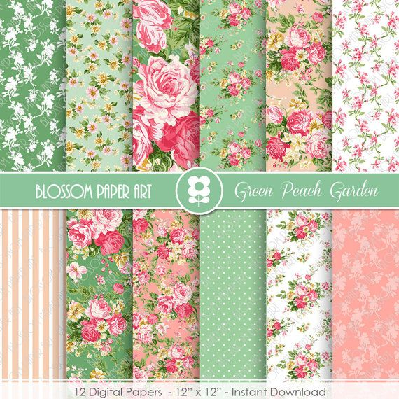 Digital Papers, Rose Peach Green Floral Digital Paper Pack, Scrapbooking Rose Papers - INSTANT DOWNLOAD  - 1933