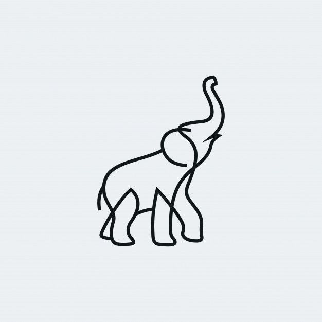 Minimalist Elephant Drawing: Elephant Vector Outline Minimalist And Characters Funny