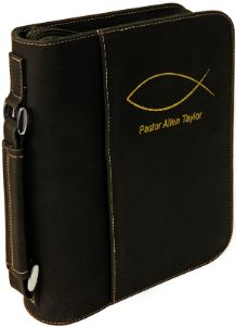 Black/Gold Leatherette Large Book Cover w/ Zipper with Custom Laser Engraving
