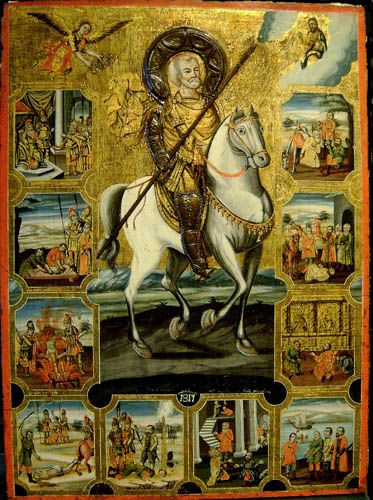 St Menas. Greek icon, 1814. Hagiographical Icon of St Menas in armour astride his horse. (St Menas was born in Egypt in 285AD and died circa 309AD in Asia Minor. He is known as a Martyr and Wonder-worker and is one of the most important Egyptian/Coptic Saints