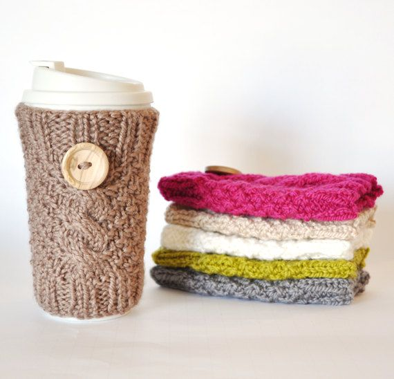 Knitting Pattern For Mug Holder : Knitted Cable Travel Mug Cozy Knitting! Pinterest Cable
