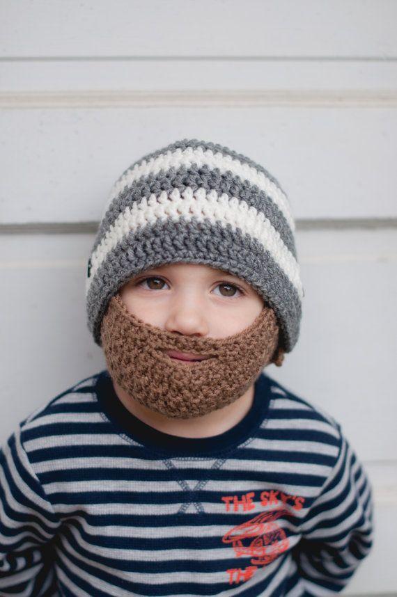 Crochet Beard Hat with stripes and detachable beard - Baby beard hat - crocheted…