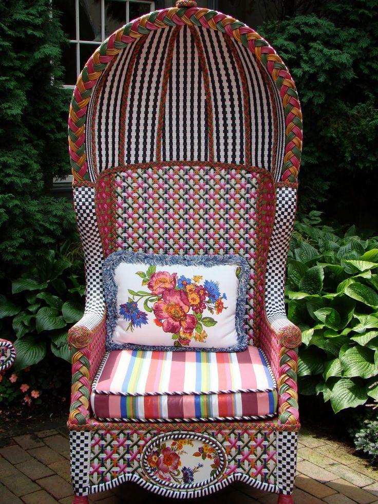 Mackenzie Childs Flower Market Outdoor Bonnet Chair