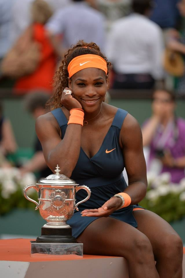 World #1 Serena Williams Celebrates Winning the 2013 French Open w/ the Suzanne Lenglen Trophy ... This is Serena's 16th MAJOR Title - She is 2 SLAMS away from tying American greats Martina Navratilova & Chrissy Evert all-time high of 18 SLAMS - the most SLAMS of any American player. #ComeOn Serena!