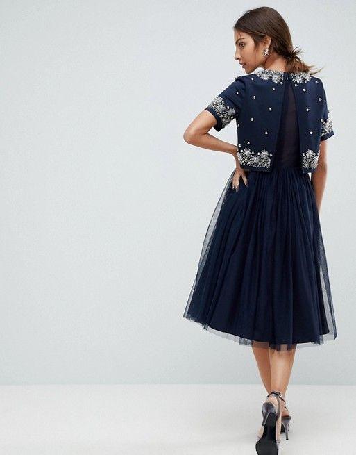 1298ef32b1 ASOS Embellished Crop Top Tulle Midi Dress at asos.com - Blue nights ...