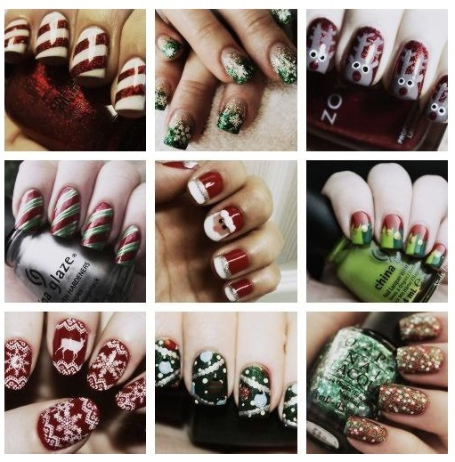 candy cane, reindeer, Christmas nails