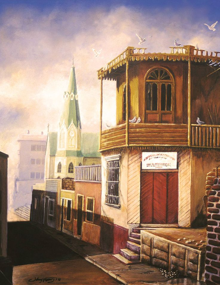 Pintura sobre Lienzo de 120x70 cm, de Johnny Vásquez Osorio, Casco antiguo de Arica Esquina de Bolognesi y Yungay, 1999