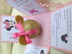 INVITACIÓN 3 AÑOS NIÑA MODELO: CAJA EXPLOSIVA Tema: Minnie Color; Rosa/Dorado Medidas: 7cm x 7cm x7cm Precio Unitario: 30.00 m...