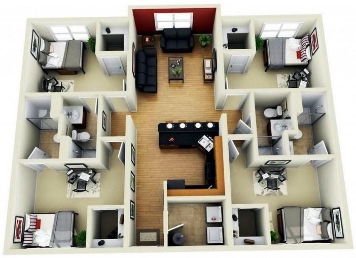 11 Denah Rumah 4 Kamar 3d Untuk Hunian Keluarga Besar Di 2020 Denah Rumah Rumah Rumah Minimalis