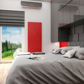 Wizualizacja. Sypialnia w prywatnym mieszkaniu. Projekt PeKa Studio.
