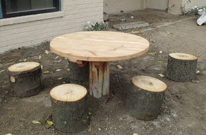 The Log Table with Stump Seats is designed to be an all natural table for your outdoor preschool classroom. The table top is made out of natural cedar.  This all natural playground table is perfect for all kinds of activities. It can be used for writing activities, manipulatives, snack time, lunch or just a place to sit and observe or socialize with friends. Add the table to an outdoor kitchen area as a natural table for making mud pies or having tea parties.