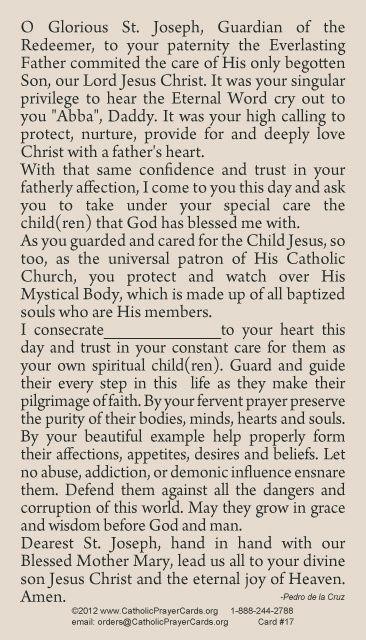CONSECRATION OF ONE'S CHILDREN TO ST. JOSEPH PRAYER CARD