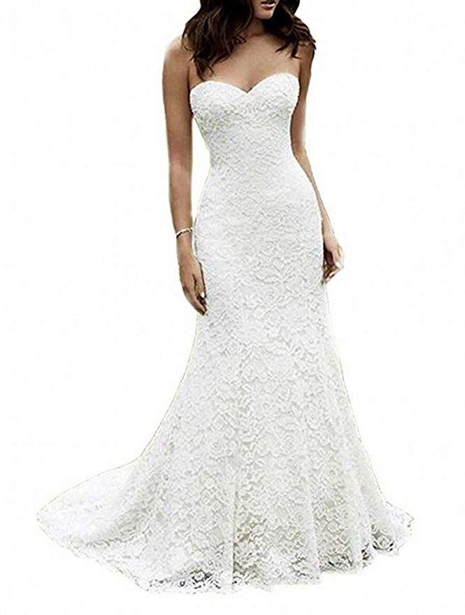 SIQINZHENG Women s Sweetheart Full Lace Beach wedding Dress Mermaid Bridal  Gown 7784c3ef23