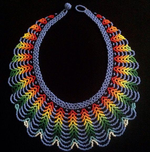 Beaded Necklace / Mandala Bead Work by TRIBALMUNAYA on Etsy