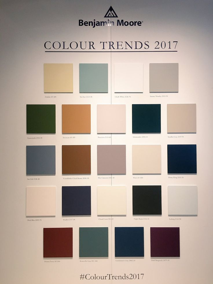 Benjamin Moore's top paint colours for 2017 — which is your favourite? #IDS17 #IDS2017 #paint #paintcolor #paintcolour #ColourTrends2017