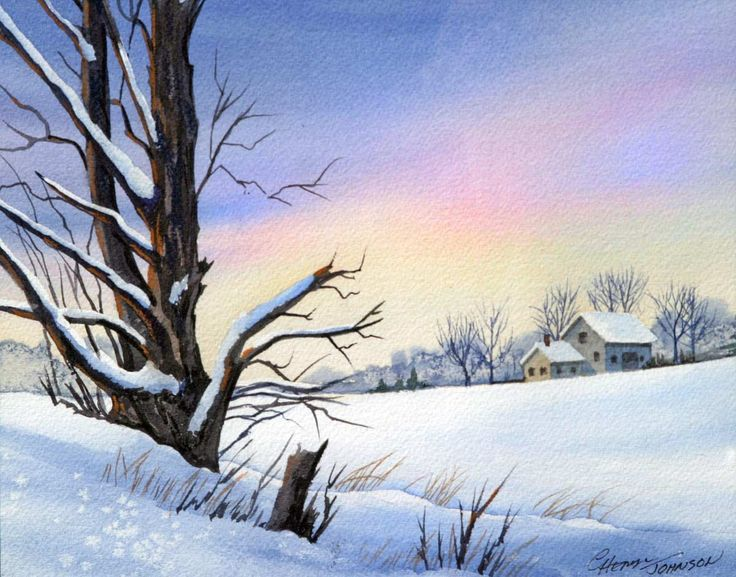 природа акварелью картинки зима даже такой