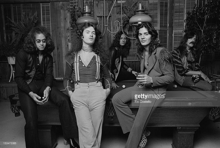 LOS ANGELES, USA - 1st JUNE: English rock group Deep Purple posed at Columbia rehearsal studios in Los Angeles, USA in June 1975. Left to right: Drummer Ian Paice, bassist Glenn Hughes, singer David Coverdale, guitarist Tommy Bolin and keyboard player Jon Lord .