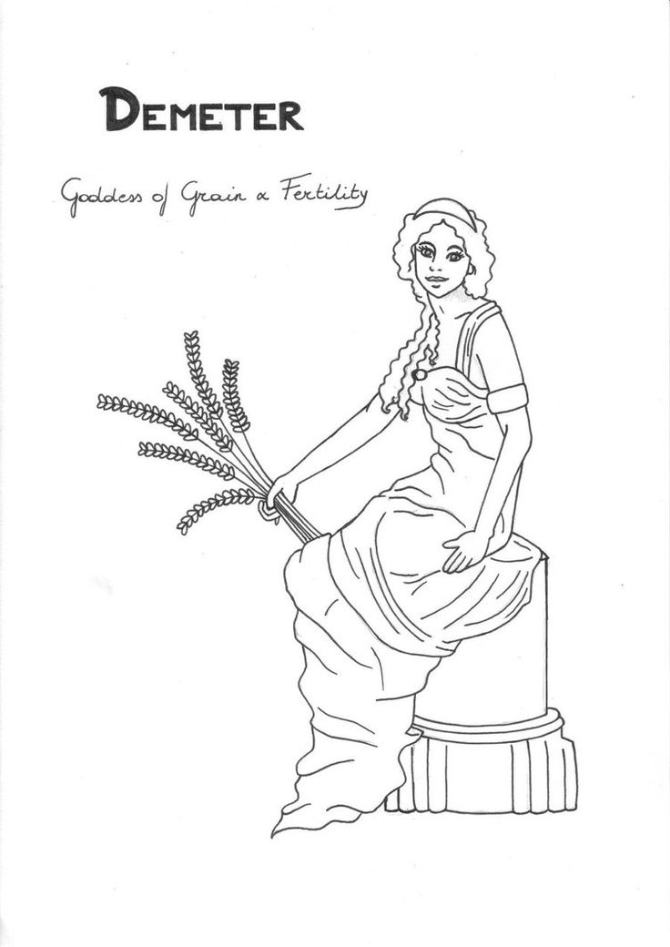 Demeter coloring page Greek God mythology Unit study by