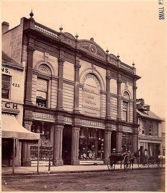 Lassetter & Co., wholesale and retail ironmonger, 421 George Street, Sydney, 1870, attributed to Charles Pickering