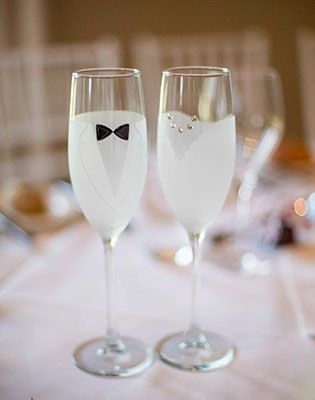 His and hers champagne glasses. Image: Mint Photography