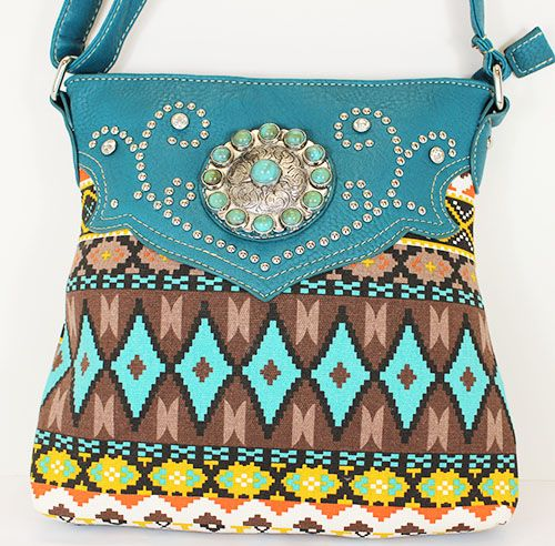"""RHINESTONE STUDDED MESSENGER BAG  APPROXIMATE SIZE: 10"""" X 8""""  *Decorated with Turquoise stones and rhinestones     *Conceal zipper pocket on back  APPROXIMATELY 23"""" STRAP"""