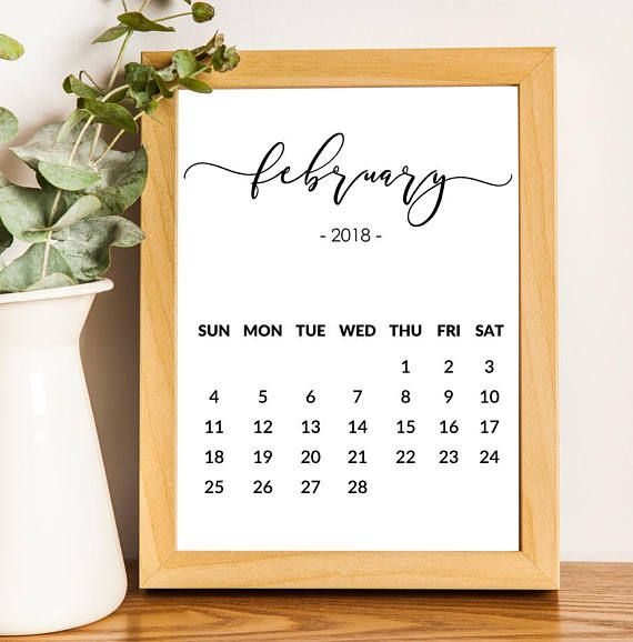 February Calendar 2018 print Printable Pregnancy Announcement Newborn Print Black And White Monthly Calendar Save the date Custom date