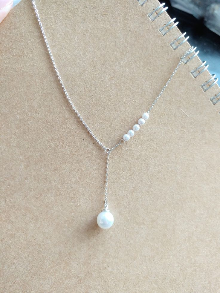 925 Sterling Silver Simple Chained Faux Pearl Necklace by ThoughtsAccessories on Etsy