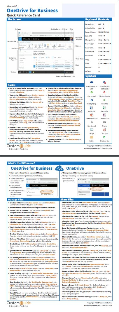 Free OneDrive for Business Quick Reference Card. http://www.customguide.com/cheat_sheets/onedrive-for-business.pdf