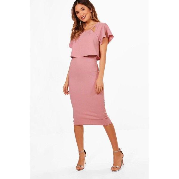 Boohoo Naomi Formal Frill Double Layer Midi Dress (400 EGP) ❤ liked on  Polyvore