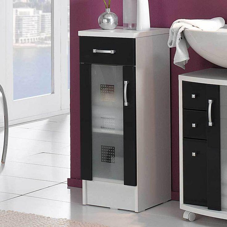 Bad Unterschrank in Anthrazit Hochglanz Weiß Glastür Jetzt - schränke für badezimmer