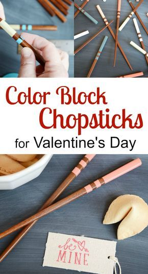 Learn how to make color block chopsticks for Valentine's Day. Everyone has their own designated color with this easy craft. | Storypiece.net