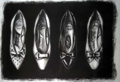Four Lotus Shoes - charcoal by Lisa Milroy I like how the negative space behind the shoes is covered in dark black.